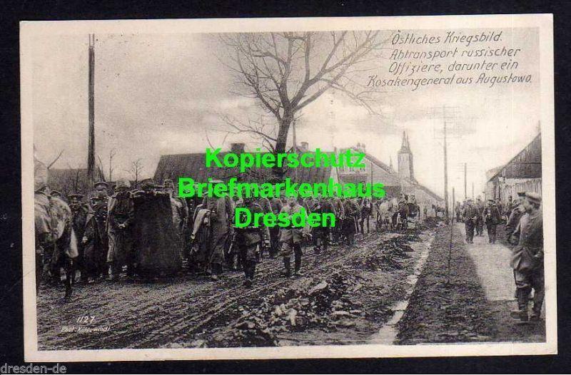 Ansichtskarte Östliches Kriegsbild 1916 Gefangenen Transport Kosakengeneral aus Augu