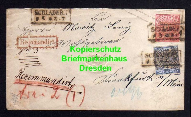 NDP Ganzsache Schladern Windeck Recomandirt Einschreiben um 1868