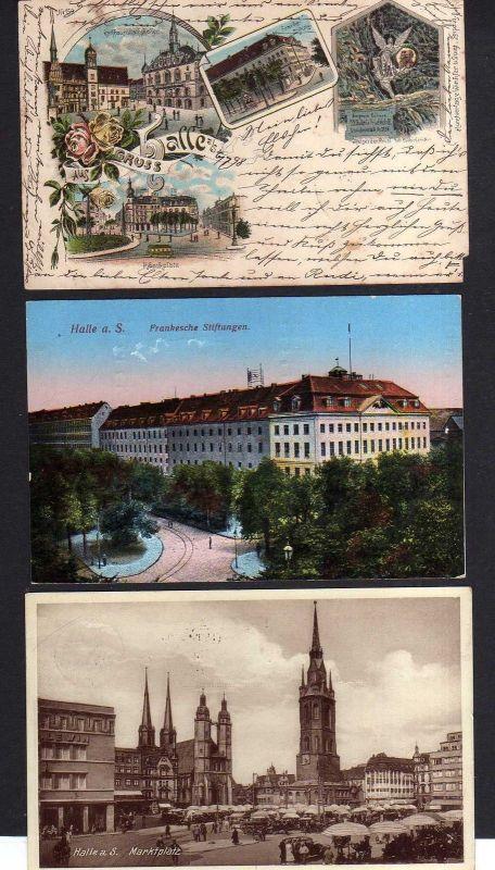 3 Ansichtskarte Halle Saale Litho 1898 Kaiserdenkmal Giebichenstein Rathaus Rathausk