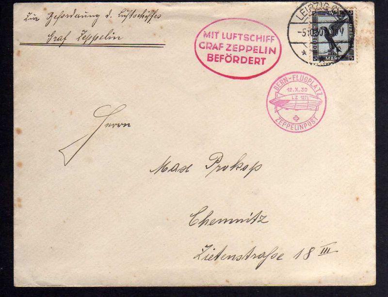 B1158 Brief Deutsches Reich Leipzig 1930 DR 383 Mit Luftschiff Graf Zeppelin bef