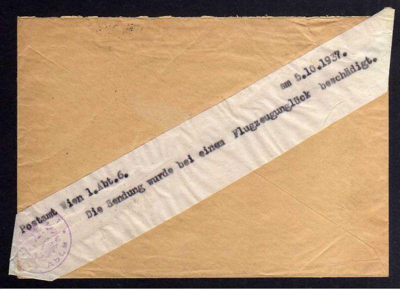 B1183 Flugpost Katastrophenpost Brief Wien 1937 Die Sendung Flugzeugunglück