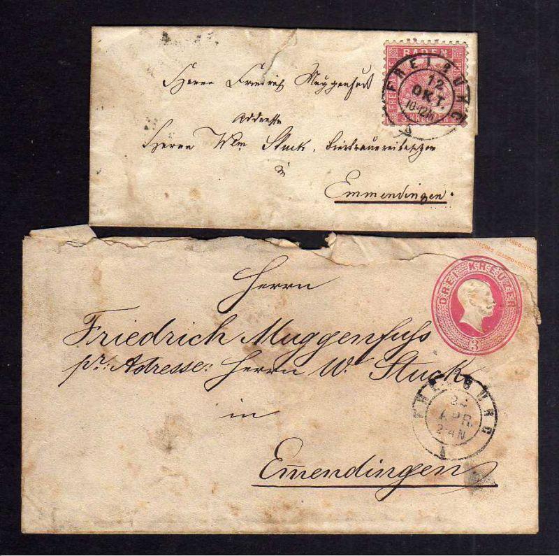 B1078 Ganzsache + Brief Freiburg 1866 nach Emmendingen
