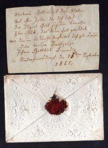 Taufbrief Erinnerung 1865 Niederframsdorf ?? Patenbrief farblos geprägt