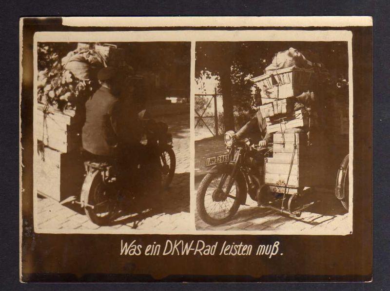 Foto DKW Motorrad 1928 mit Seitenwagen Rasmussen Was ein DKW Rad leisten