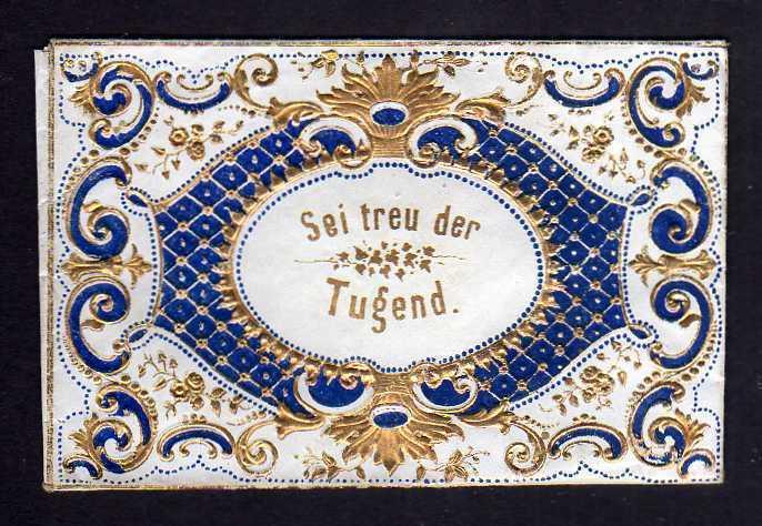 Taufbrief Sei treu der Tugend 1857 Patenbrief goldgeprägt  mit Spruchzett