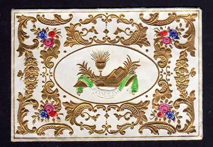 Taufbrief Der Herr sei mit Dir um 1860 Patenbrief goldgeprägt  mit Spruch