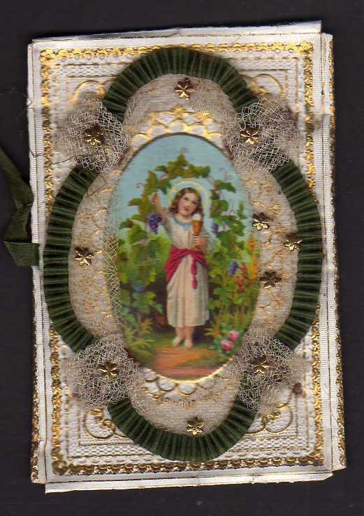 Taufbrief um 1860 mit Aufsatz Zum Andenken Patenbrief goldgeprägt  mit Sp