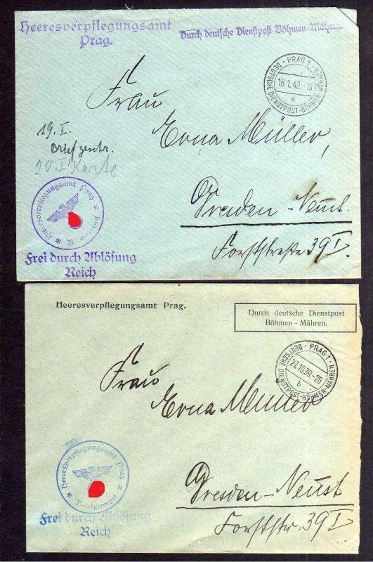 B1081 2 Briefe Böhmen und Mähren Deutsche Dienstpost Prag 1939 Heeresverpflegung