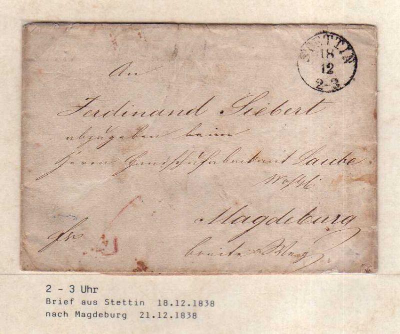 v047 aus Stettin Sammlung 3 Briefe 1838 1844 n. Magdeburg Pasewalk