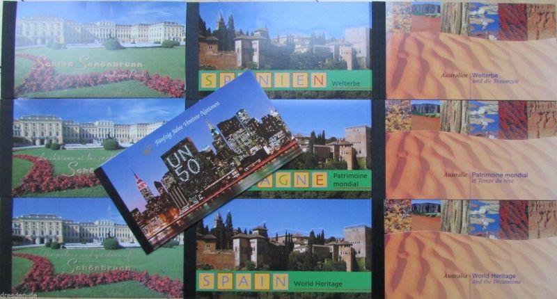 UNO Genf New York Wien MH Markenheftchen 1998 1999 2000 Welterbe World Heritage