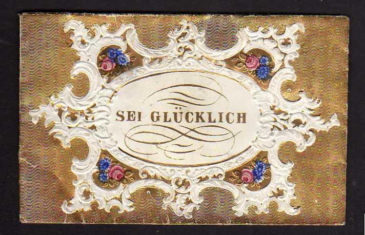 Taufbrief Sei glücklich 1867 Fördergersdorf Patenbrief goldgeprägt  mit S