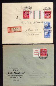 B1098 2x Brief Deutsches Reich Zusammendruck W85 KZ 19 Berlin Limbach Hotel Stad