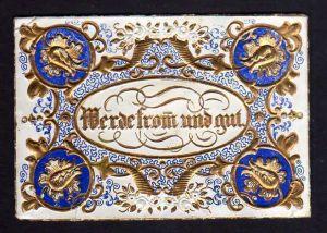 Taufbrief Werde fromm und gut 1857 Robert Patzig Patenbrief goldgeprägt