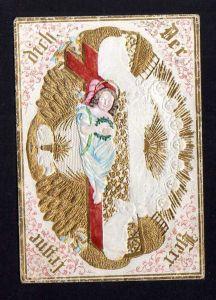 Taufbrief Der Herr segne Dich  1852 Patenbrief goldgeprägt  mit Spruchzet