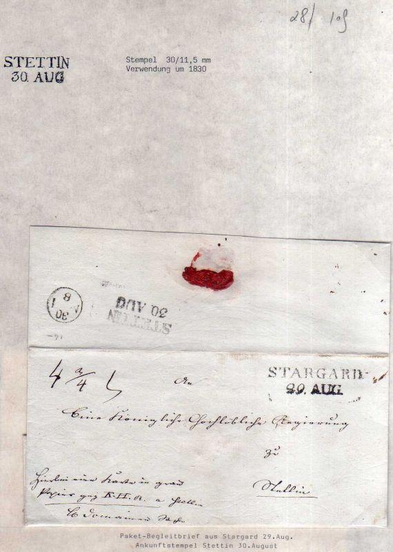 v028 aus Stettin Sammlung Brief um 1830 Paketbegeleitbrief Stargard nach Stettin