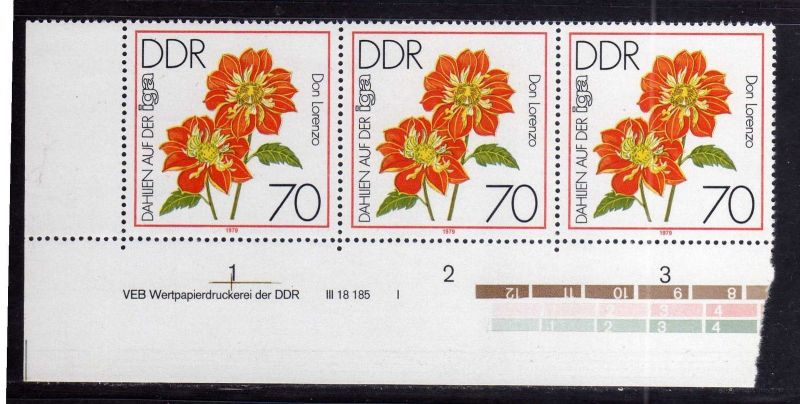 DDR 1979 2440 DV I **  IGA Erfurt Dahlien 70 Pfg. 0