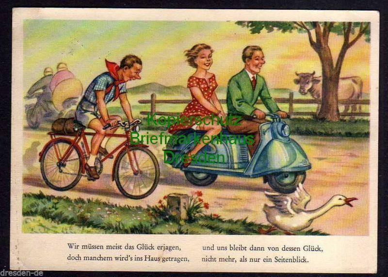 Ansichtskarte Künstlerkarte Humor Fahrrad Motorroller Mann Frau Gans