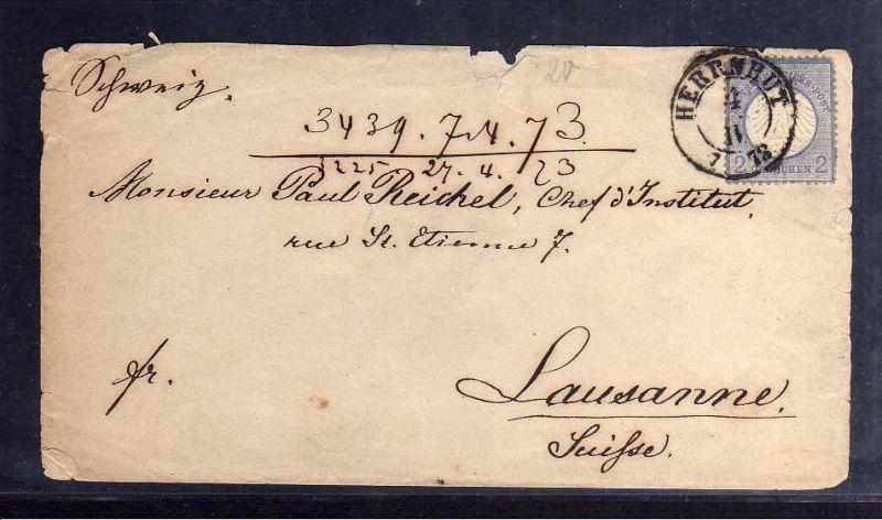 B1211 Brief Deutsches Reich kleines Brustschild 4 Herrnhut 1873 nach Lausanne Sc