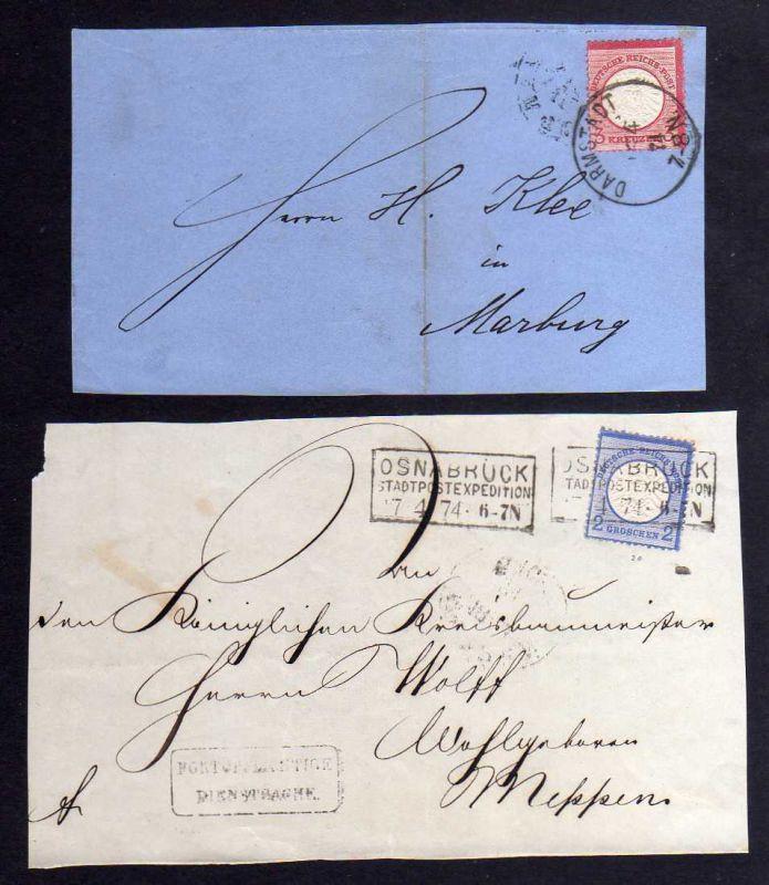 B1212 2x Briefvorderseite großes Brustschild 2 Groschen Osnabrück 1874 Darmstadt