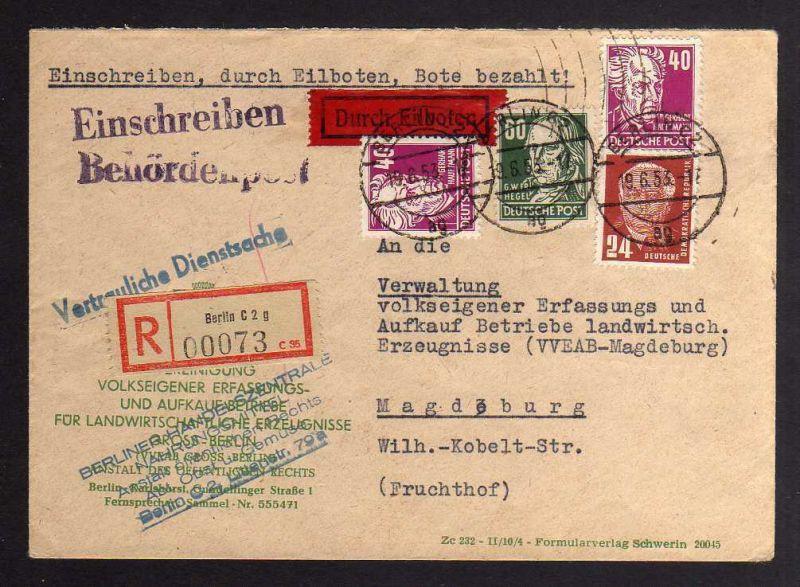 B1273 DDR Köpfe II Einschreiben Eilboten 1953 Vertrauliche Dienstsache