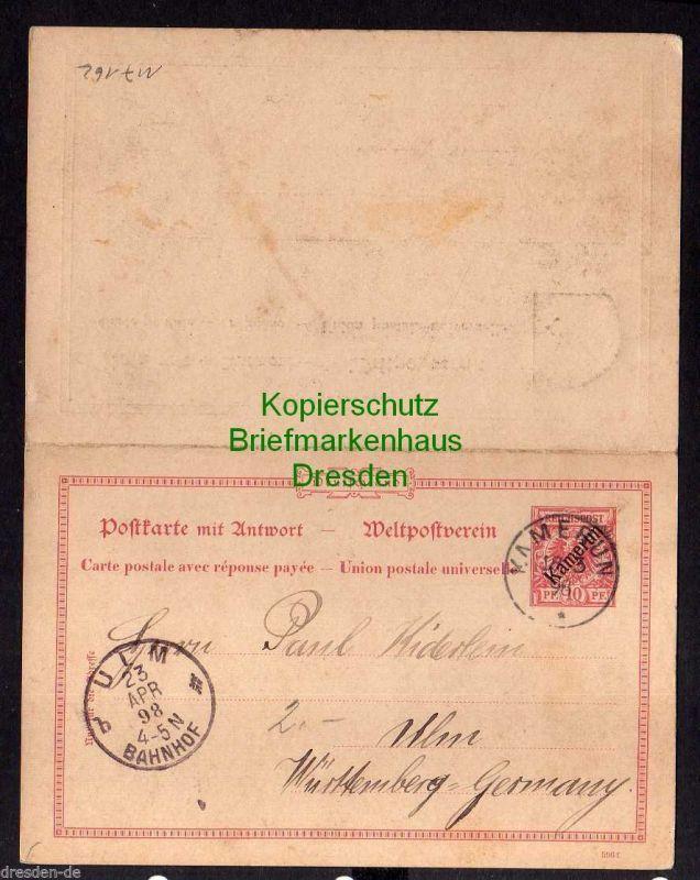 Kamerun 1898 Ganzsache mit Antwort