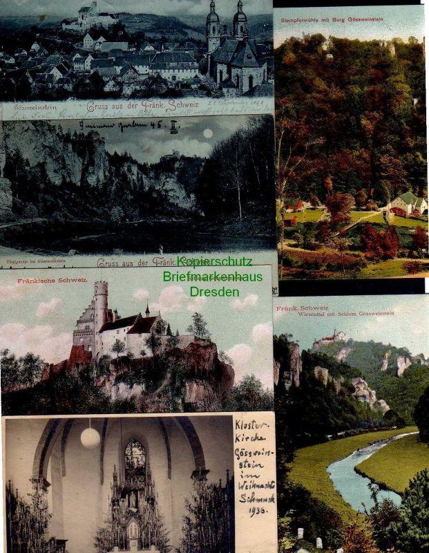 6 Ansichtskarte Fränkische Schweiz Gössweinstein 1905 1898 Stempfermühle Burg Wiesen