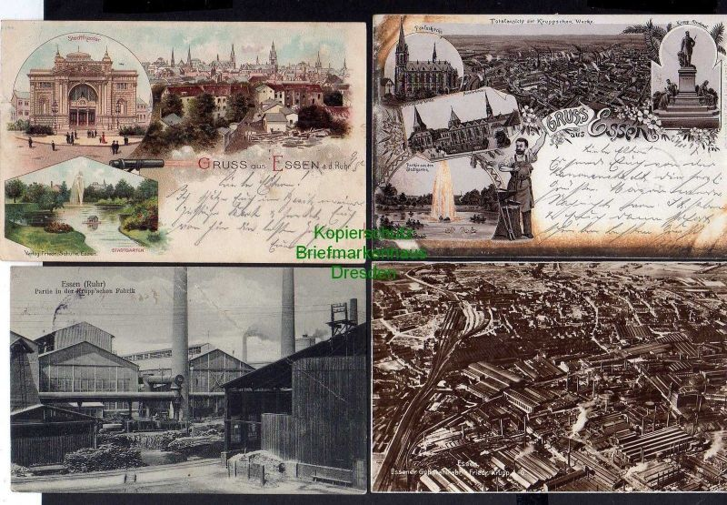 4 Ansichtskarte Essen Litho 1897 Pauluskirche Kruppwerke Krupp Denkmal Stadttheater 0