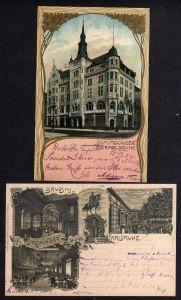 2 Ansichtskarte Litho Karlsruhe Restaurant  Moninger 1900 Jugendstil Deko 1904