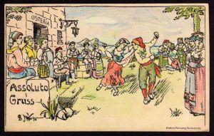 Ansichtskarte Assoluto Gruss Osteria Tracht Folklore Student