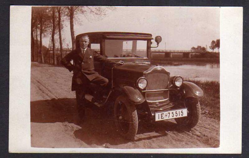 Ansichtskarte Fotokarte Auto Automobil Oldtimer Opel um 1920 Kennzeichen IE 75515