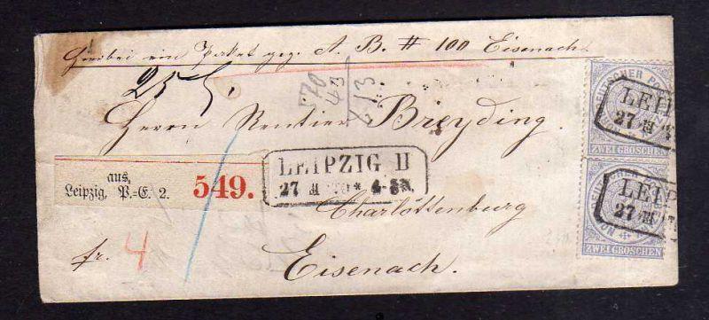 NDP Gera Paketbegleitbrief um 1870 nach Weimar