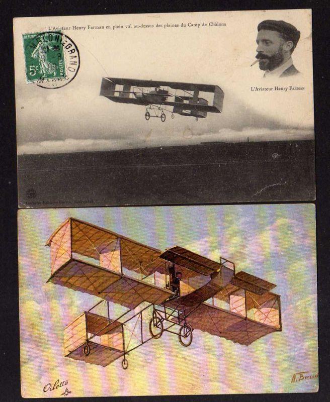 2 Ansichtskarte Pionierluftfahrt Henry Farman französischer Flugpionier Doppeldecker