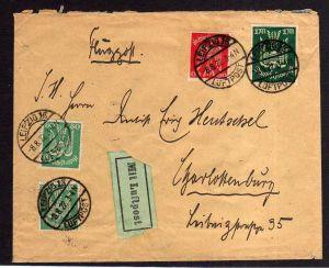 DR 213 214 215 MiF Leipzig 13 Luftpost 1922 nach Charlottenburg
