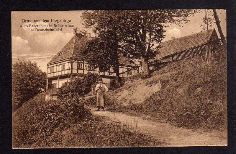 Ansichtskarte Altes Bauernhaus in Brüderwiese bei Deutscheinsiedel Feldpost 1916