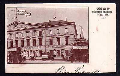 Ansichtskarte Leipzig 1900 Motorwagen Ausstellung Sonderstempel SST Erinnerungsstempe