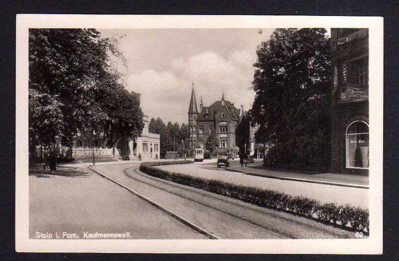 Ansichtskarte Stolp Pommern um 1935 Fotokarte Kaufmannswall Geschäft Herren Moden St