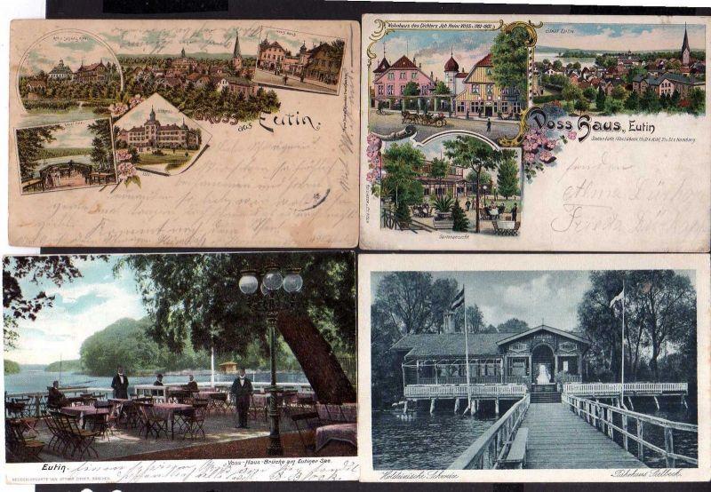 4 Ansichtskarte Eutin Litho 1900 Holstein Schweiz Hotel Voß Haus Schloss Wohnhaus de