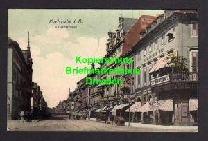 Ansichtskarte Karlsruhe 1906 Kaiserstrasse Wiener Cafe Central Hotel Englischer Hof