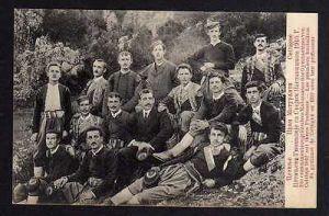 Ansichtskarte Cetinje 1910 Cettigne Цетиње Montenegro Studentika Gymnasiasten Profess