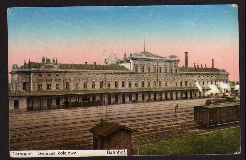 Ansichtskarte Tarnopol Bahnhof Gleisseite Feldpost Fernsprechabteilung 1917
