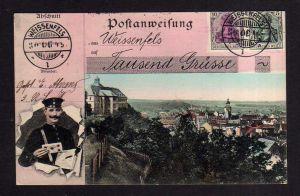 Ansichtskarte Weissenfels Weißenfels 1906 Postbote Briefträger Postanweisung Tausend