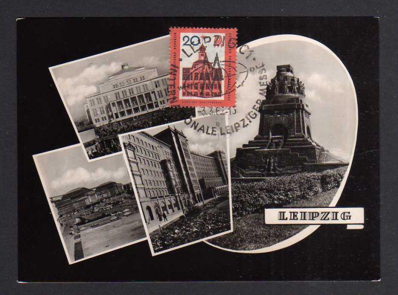 Maximumkarten DDR 1962 874 Leipziger Frühjahrsmesse Fotokarte Hauptbahnho