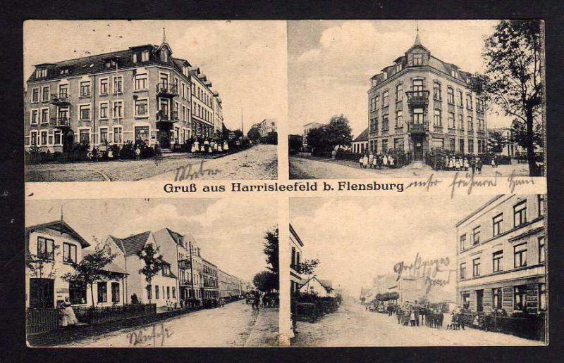 Ansichtskarte Harrisleefeld bei Flensburg 1914 4 Ansichten Straßen Häuser 0