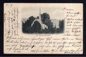 Ansichtskarte Sarajevo Ali Pascha Moschee 1898 Mostar K.u.K. Militärpost 13