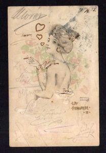 Ansichtskarte Künstlerkarte Raphael Kirchner 1902 Frau rauchend Erotik La Faforite I