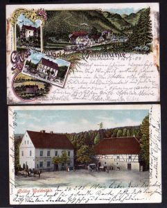 2 Ansichtskarte Goldene Waldmühle Kr. Schweidnitz Litho 1900 Villa zur Erholung Vill