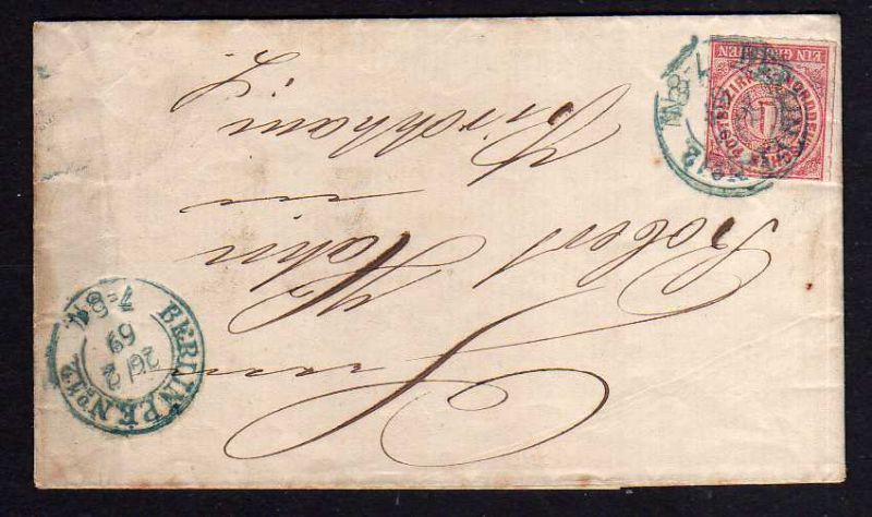 Faltbrief NDP Berlin PE No. 12 1869 Wilh. Borchert