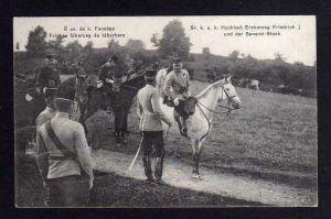Ansichtskarte Sr. Hocheit Erzherzog Friedrich und sein General Stab Friedrich von Ös