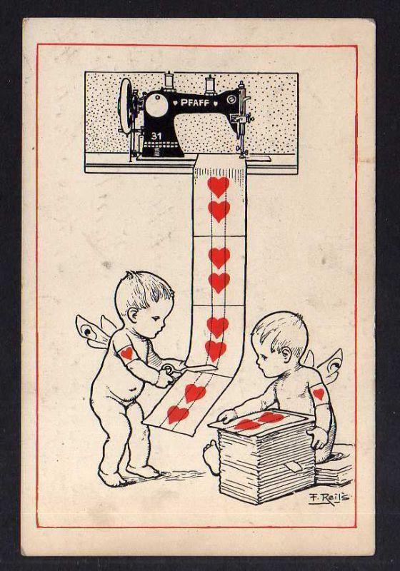 Ansichtskarte Werbung reklame Pfaff Nähmaschine Kinder Herzen Künstlerkarte F. Reils
