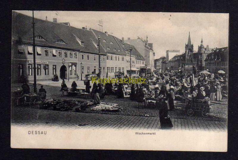 Ansichtskarte Dessau 1910 Marktplatz Markttag Händler Gasthaus Goldner Löwe Wochenma